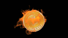 Burning bitcoin coin,fire electronic money,Virtual currency. Stock Footage