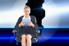 Composite image of front view of concentrated chic businesswoman using her - stock illustration