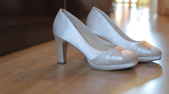 White wedding shoes Stock Footage
