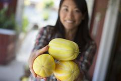 A farm growing organic vegetables. A woman with harvested striped squashes. Stock Photos