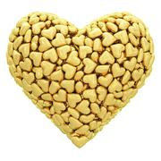Heart shape composed of many golden hearts isolated on white Stock Illustration