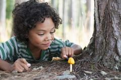 Trees on the shores of a lake. A child inspecting a small yellow fungi mushroom. - stock photo