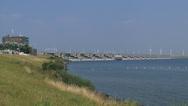 Stock Video Footage of Dutch Delta Works, sea dike pan Haringvlietdam and locks at landside + pan water