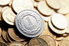Polish currency with zloty coins - stock photo