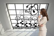 Stock Illustration of Composite image of profile view of doubtful businesswoman standing