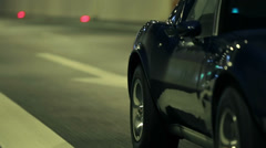 Side shot of Corvette at the night drive Stock Footage