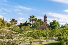 trees, alley and pagoda in royal botanic gardens - stock photo
