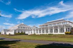 temperate house in kew royal botanic gardens - stock photo