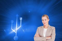 Composite image of confident female executive with folded arms Stock Illustration