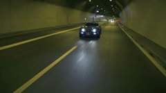 Beautiful shot of blue Corvette driving through the tunnel - stock footage