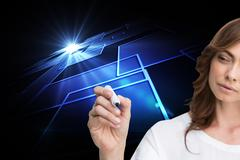 Composite image of concentrated businesswoman holding whiteboard marker - stock illustration