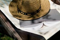 Book and straw hat on deckchair Stock Photos