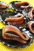 Spanish anchovies served as appetizer Stock Photos