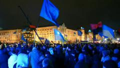 Euro maidan meeting in Kiev on November 28, 2013. Stock Footage