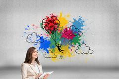 Composite image of businesswoman holding tablet and looking up - stock illustration