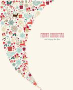 merry christmas vintage elements composition - stock illustration