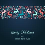 merry christmas and happy new year greeting card - stock illustration