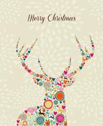 merry vintage christmas elements reindeer greeting card - stock illustration