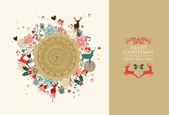 merry christmas vintage circle composition - stock illustration