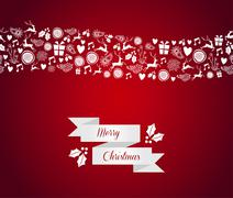 Merry christmas seamless pattern border. Stock Illustration