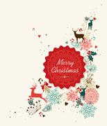 Stock Illustration of merry christmas vintage circle label illustration