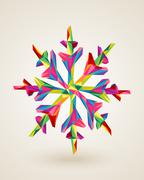 merry christmas multicolors snowflake illustration - stock illustration