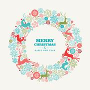 Merry christmas and happy new year greeting card Stock Illustration