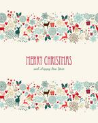 Stock Illustration of merry christmas vintage seamless pattern