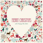 vintage merry christmas love heart card - stock illustration