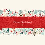 merry christmas vintage pattern greeting card - stock illustration