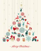 vintage christmas pine tree background - stock illustration