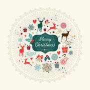 merry christmas vintage greeting card - stock illustration