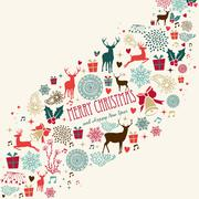 vintage merrey christmas background - stock illustration