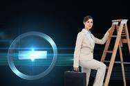 Composite image of businesswoman climbing career ladder with briefcase and Stock Illustration