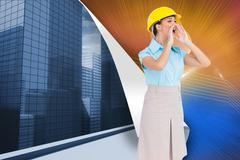 Stock Illustration of Composite image of attractive architect shouting
