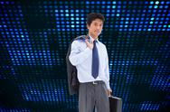 Composite image of portrait of a businessman holding a briefcase and his jacket Stock Illustration