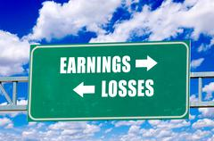 Earnings and losses sign Stock Illustration