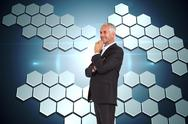 Stock Illustration of Composite image of happy businessman looking away