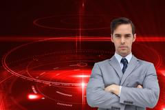 Composite image of young businessman looking at camera - stock illustration