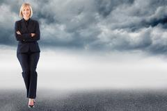 Composite image of friendly businesswoman smiling at the camera in a meeting Stock Illustration