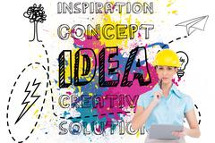 Composite image of thoughtful attractive architect holding clipboard - stock illustration