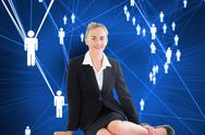 Stock Illustration of Composite image of young businesswoman sitting on ground