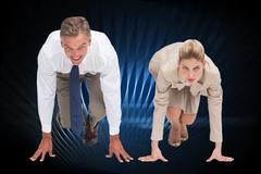 Composite image of business people ready to start race Stock Illustration