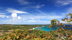 View point with beautiful coastline - stock footage