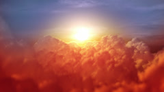 Flying through orange soft clouds during sunrise. Blue sky. Loopable. - stock footage