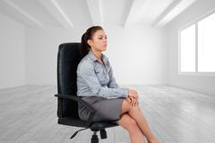Composite image of portrait of a serious businesswoman sitting on an armchair Stock Illustration