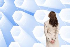 Composite image of rear view of businesswoman Stock Illustration