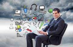 Composite image of young businessman sitting on an armchair working with a Stock Illustration