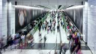 Stock Video Footage of Subway Tunnel People Timelapse 4K.