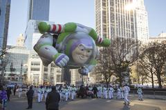Buzz Lightyear balloon flying in 2013 Macy's Parade - stock photo